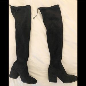 Vero Cuoio Black Thigh High Faux Suede Boots